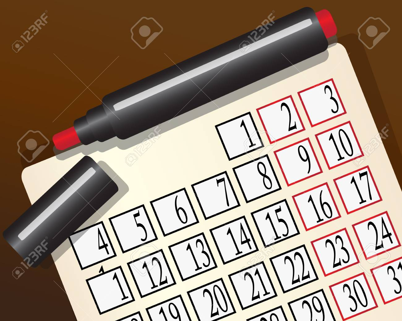 monthly calendar and a red marker to lie on the brown surface Stock Vector - 15780369