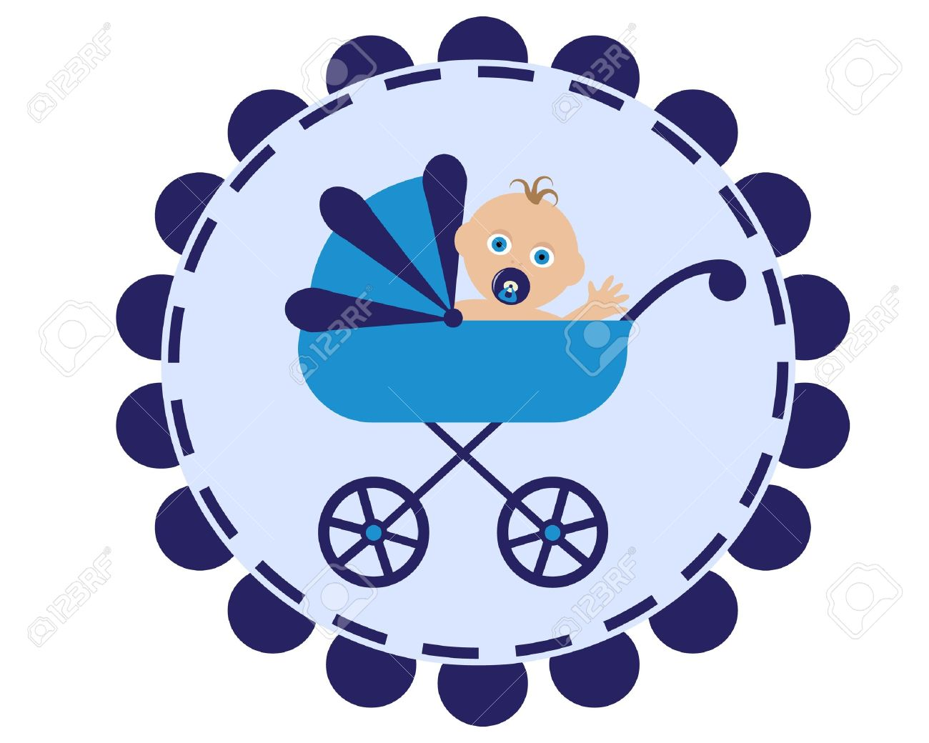 icon with the image of a blue stroller and sitting in her baby with pacifier Stock Vector - 15822462