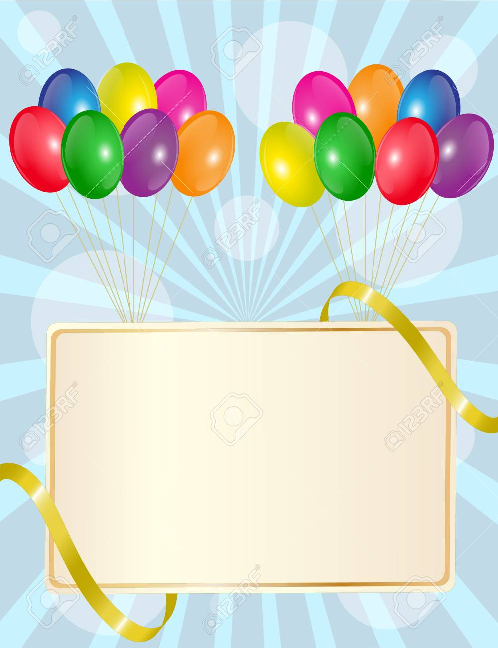 greeting sign with colorful balloons and golden ribbon Stock Vector - 15908834