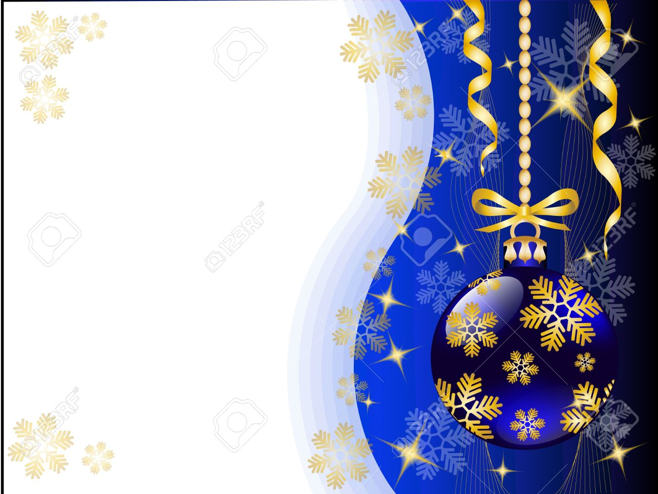 Christmas Background With Shiny Blue Christmas Toys And Gold