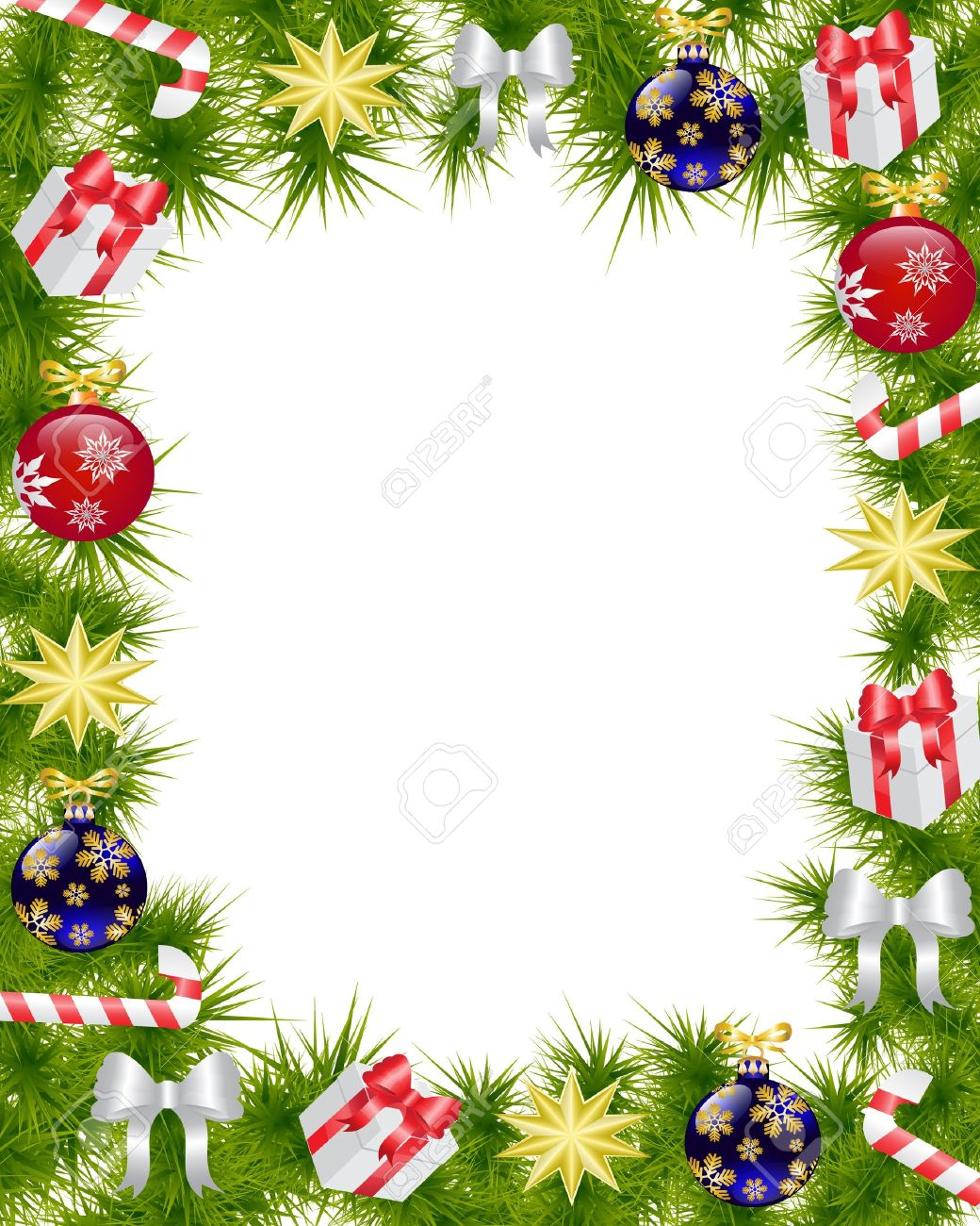 Christmas frame made of fir branches adorned with Christmas decorations, gifts, stars and candy Stock Vector - 16133081