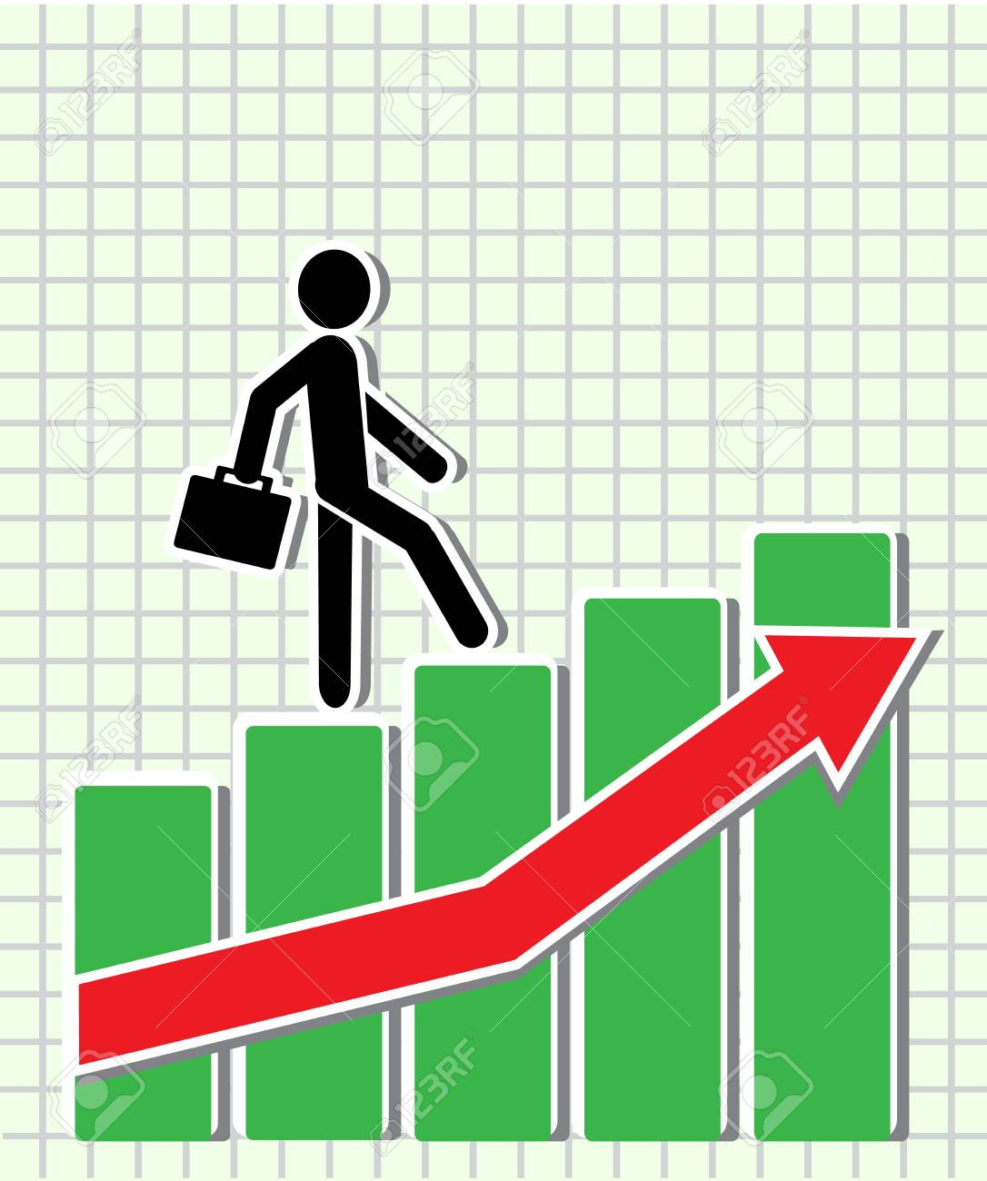 businessman walking on the schedule of the Exchange as the stairs up Stock Vector - 16394062