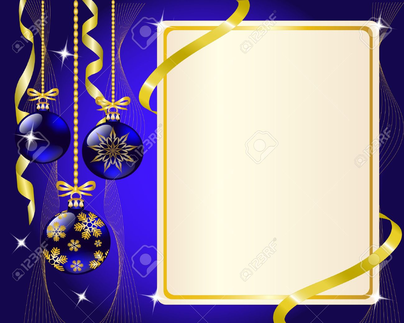 Blue and gold christmas decorations - Vector Paper Blue Christmas Ornaments And Gold Ribbon Shiny And New Year S Balls