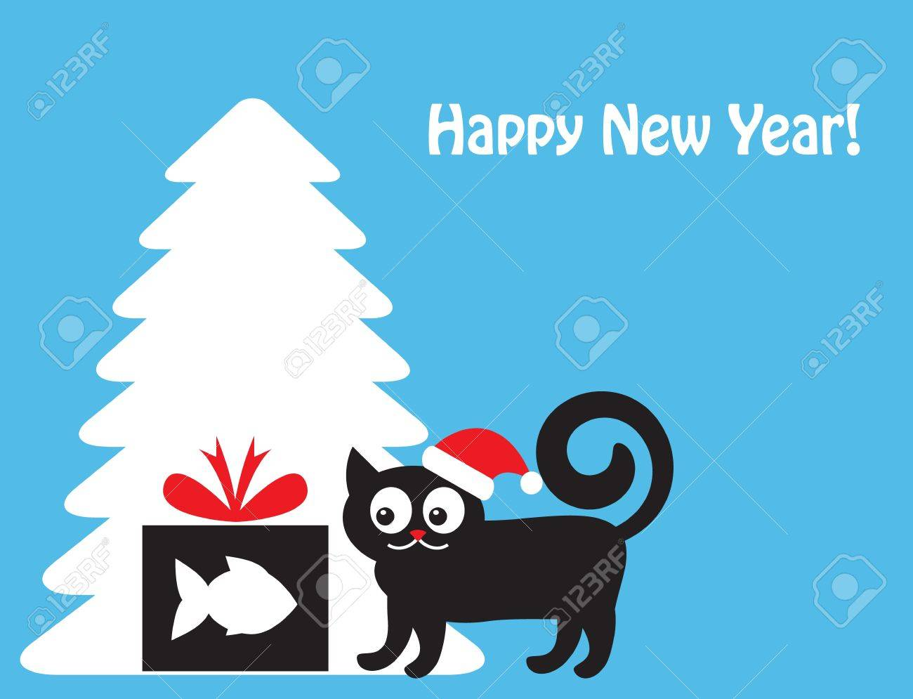cat in a New Year s hat looking at a gift box with a silhouette of fish  Cat and gift shows in the background silhouette of Christmas tree Stock Vector - 16394288