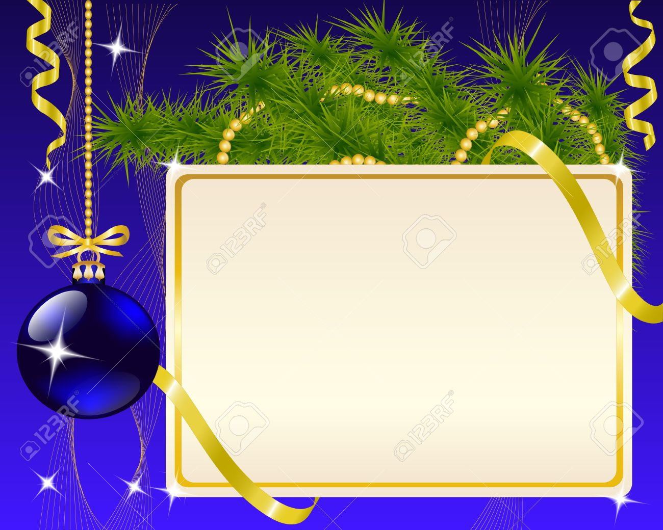 Blue and gold christmas decorations - Vector Paper Blue Christmas Ornaments And Gold Ribbon Shiny And New Year S Ball