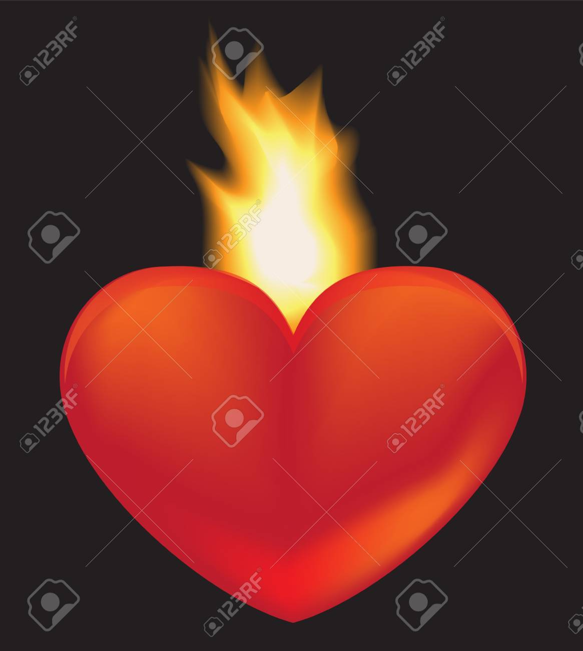 heart on a black background. Behind the heart burns a flame Stock Vector - 16755254