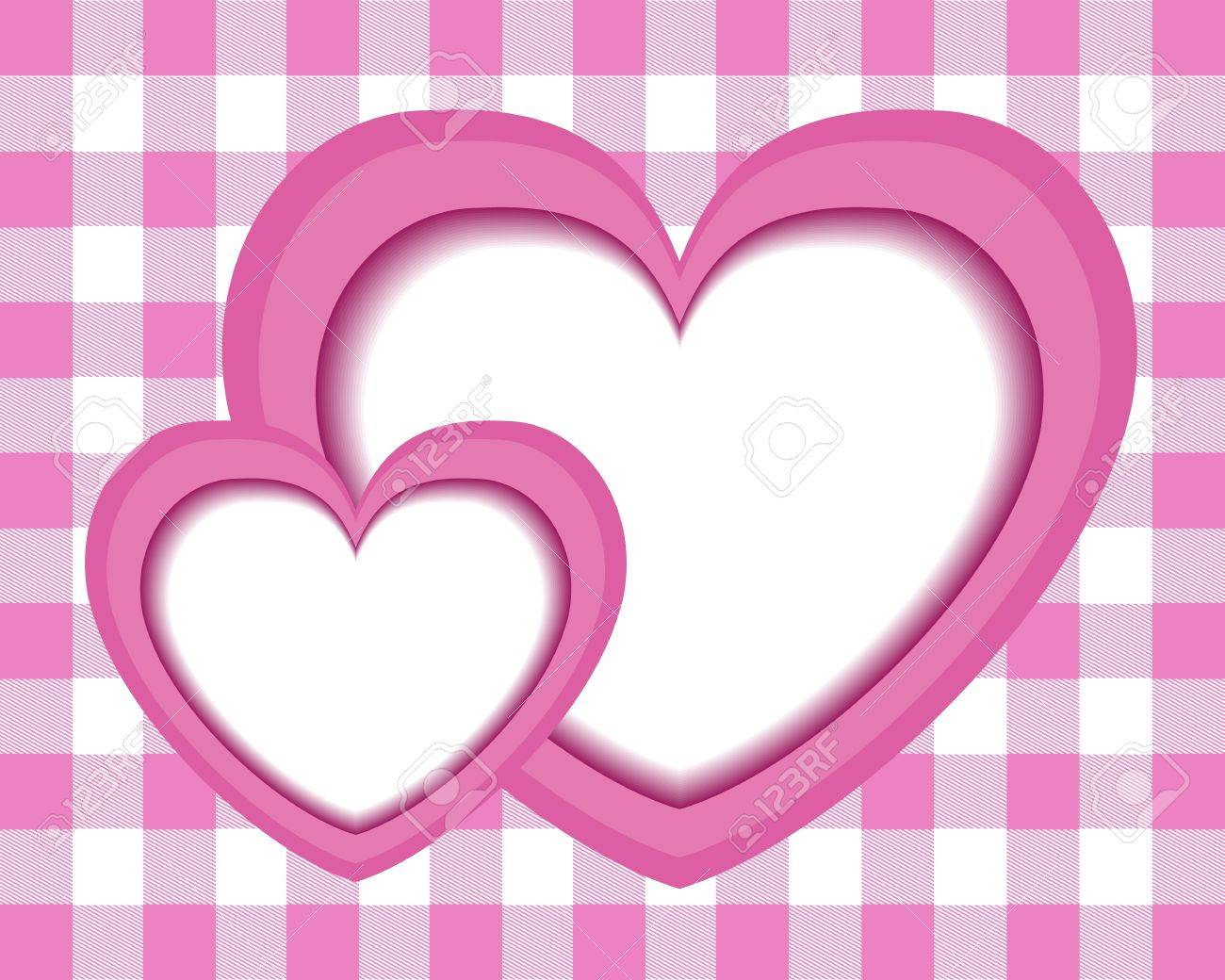 Paper Pink Hearts On A Pink Background Checkered Tablecloth Italian Stock  Vector   17083314