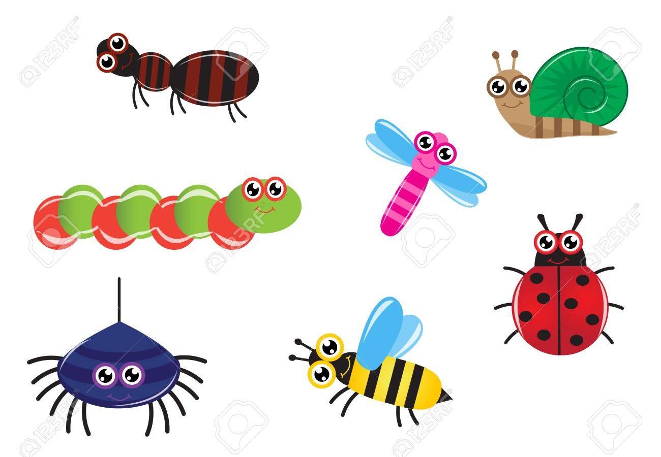 Conjunto De Dibujos Animados De Insectos Hormiga, Oruga, Araña ...
