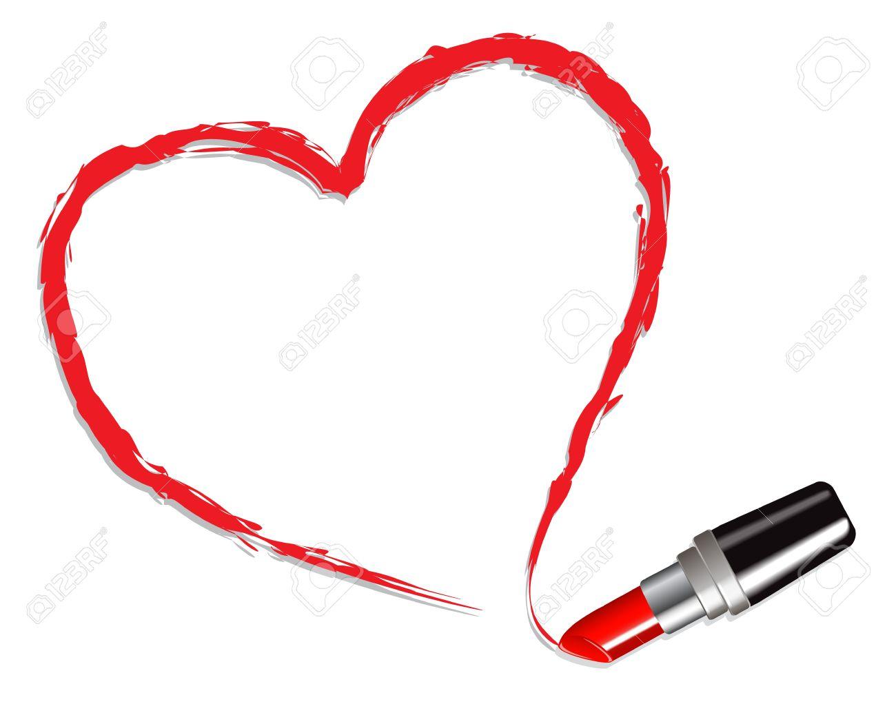 Super Coeur Dessiné Avec Le Rouge à Lèvres Rouge Sur Fond Blanc Clip Art  HD63