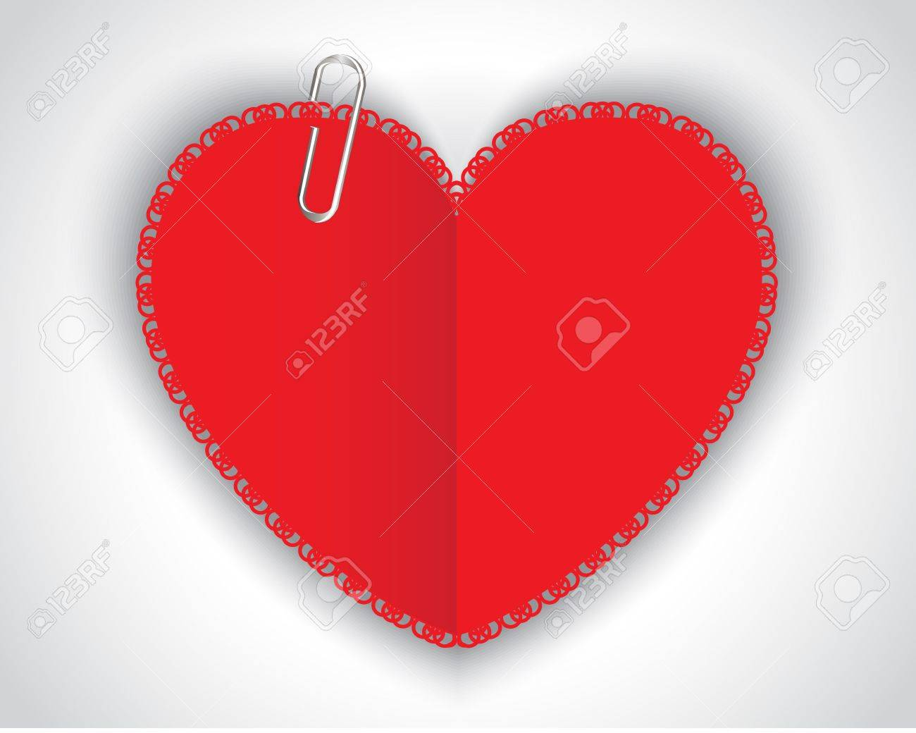 patterned paper red heart and a shiny clip Stock Vector - 17438088