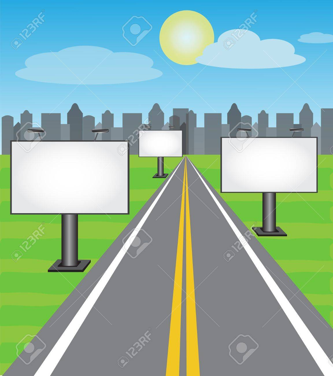 billboards along the road leading into the city Stock Vector - 17438091
