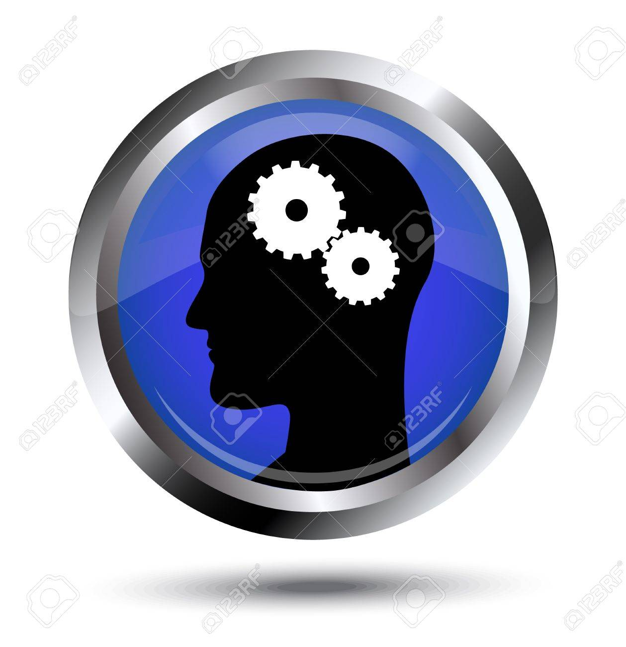 Thought process  Icon with a silhouette of the head and gears Stock Vector - 17820066