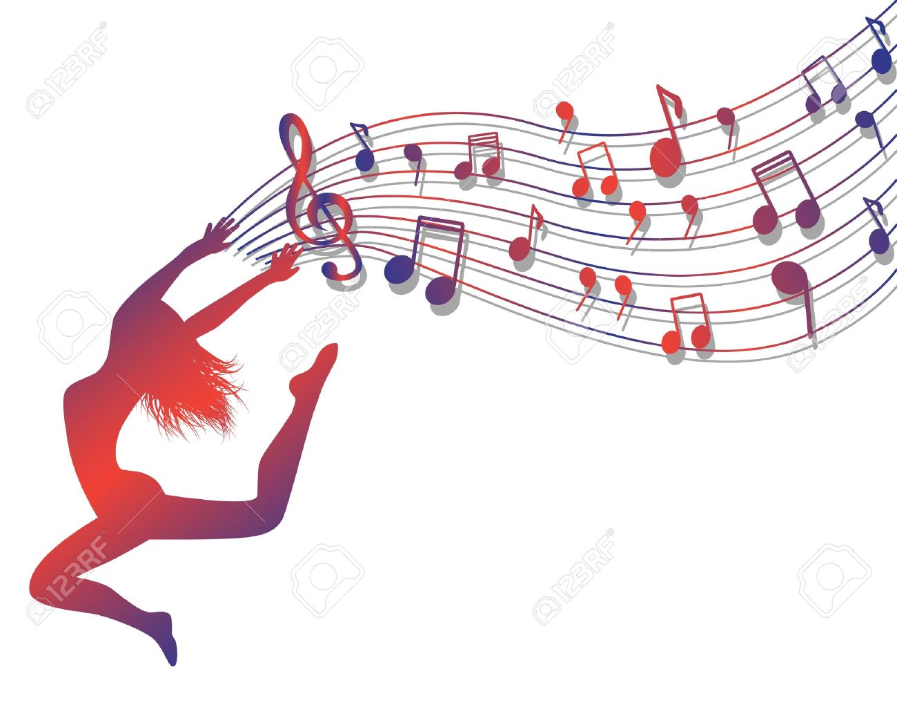 Female silhouette jumping. Woman holding a musical lineup with notes and treble clef - 18236194