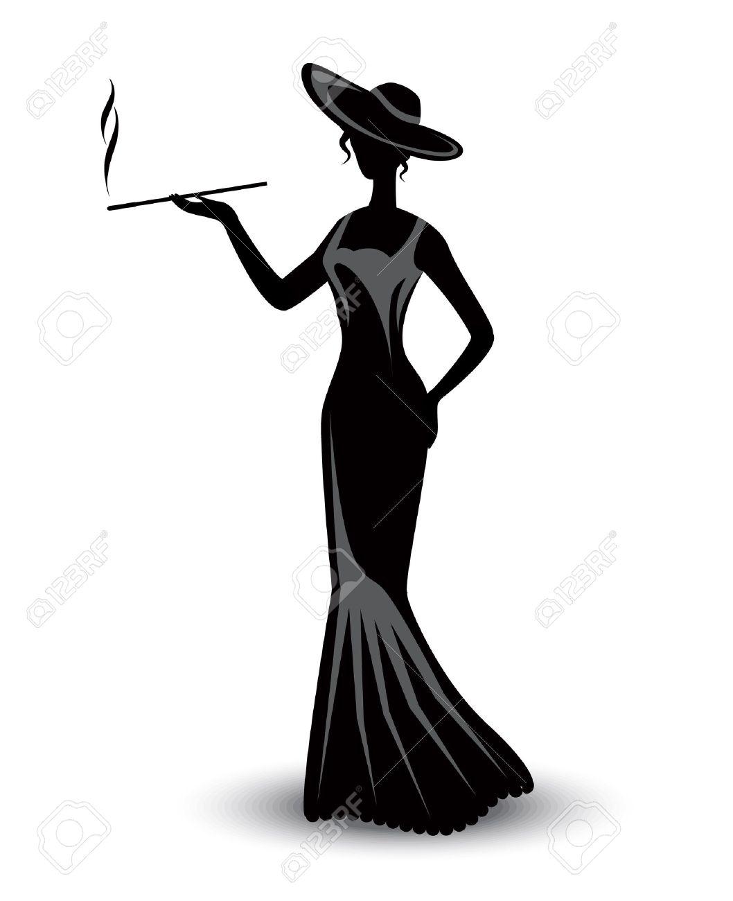 Abito Fumare E Cappello Silhouette In Elegante Retrò Donna Un qxn40f8tw