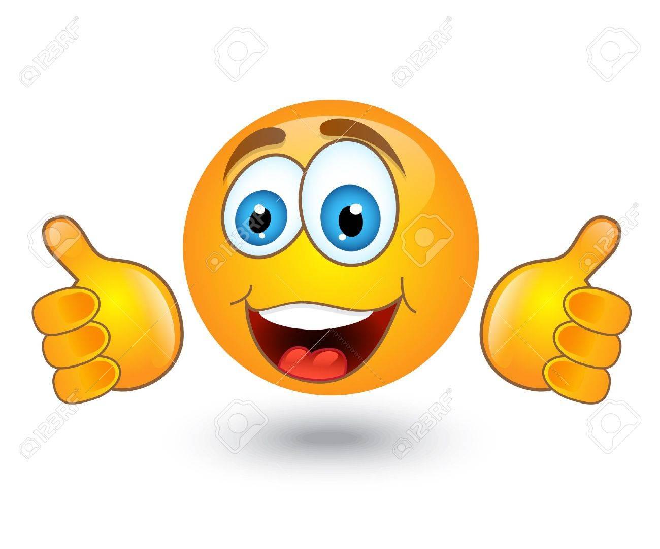 Gelben Runden Emotion Lächelt Und Zeigt Eine Geste Der Zustimmung ...
