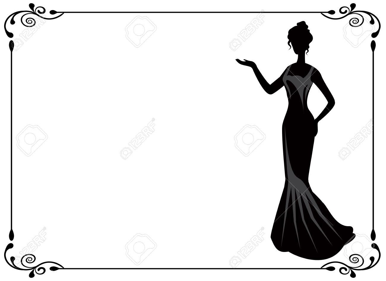 Женщины в платье силуэт 82