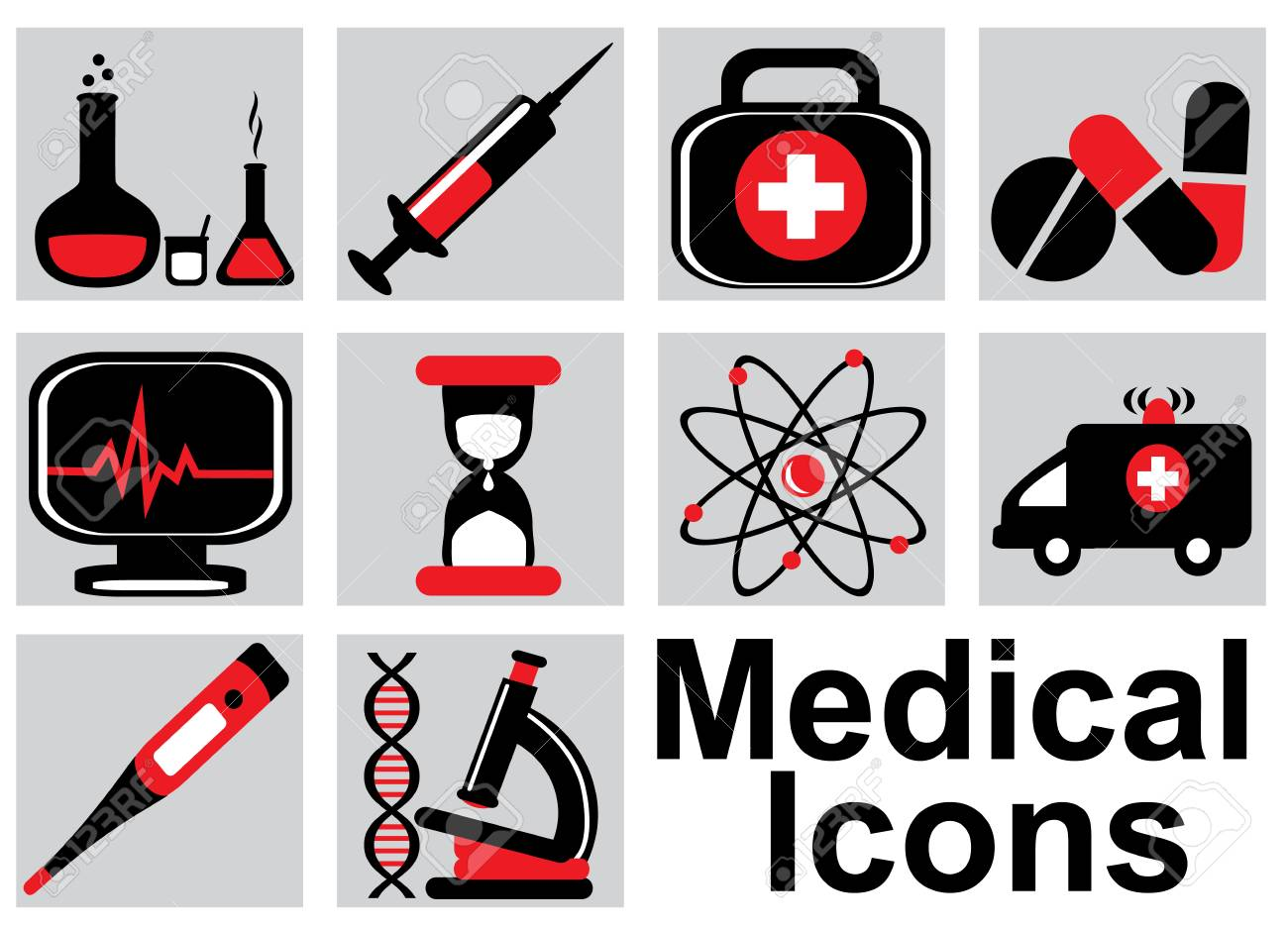 Set black and red medical icons on a light background Stock Vector - 20891410