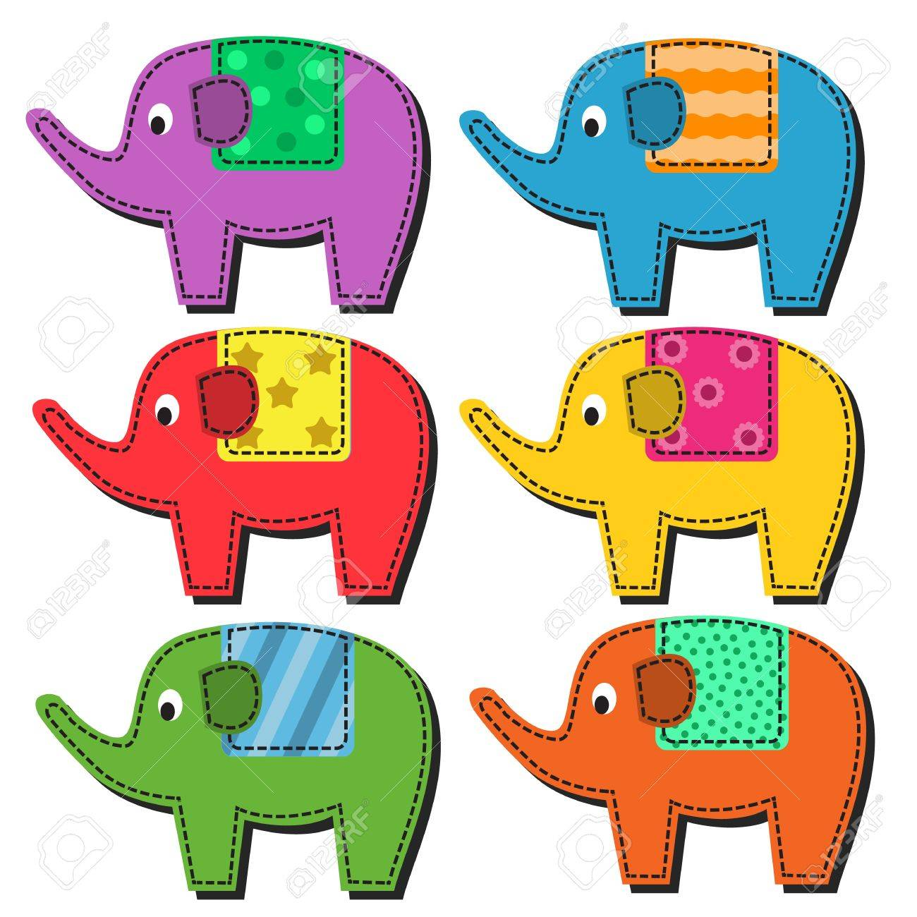 Set of multi-colored elephant patterned seats on a white background Stock Vector - 22175802