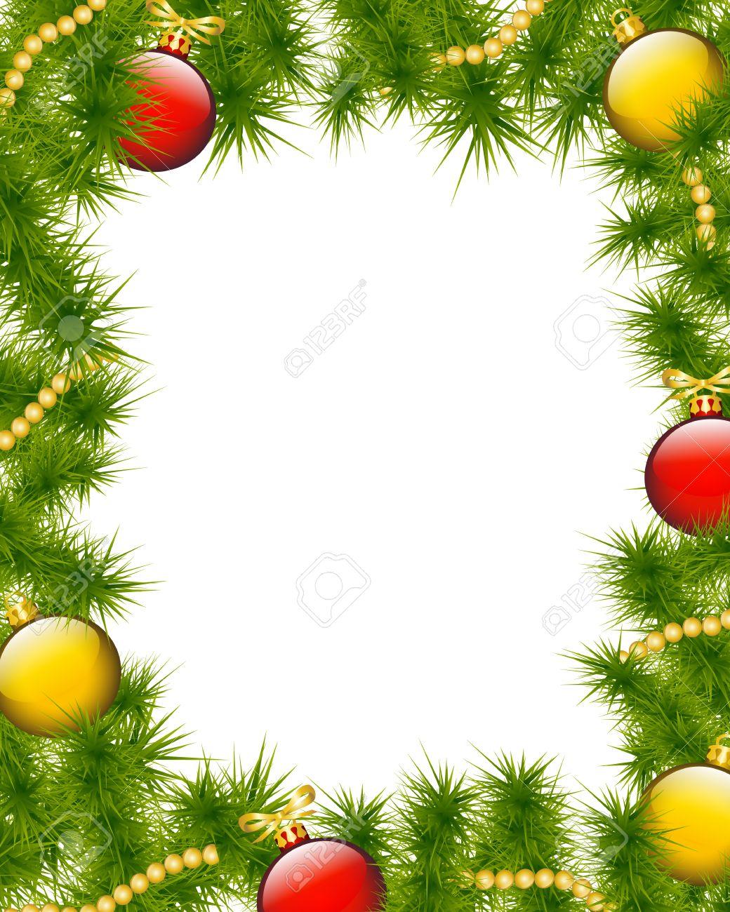 Weihnachten Rahmen Aus Tannenzweigen Mit Weihnachtsschmuck ...