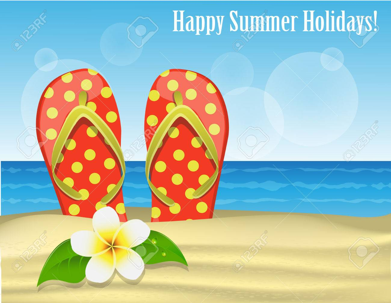 4f210712d Holiday greeting card with flip-flops and and frangipani against the sand  and the sea