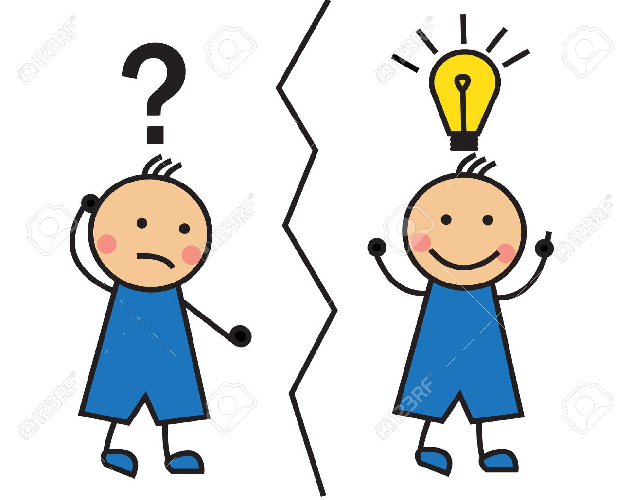 Cartoon Man With A Question Mark And Light Bulb Over His Head Stock Vector