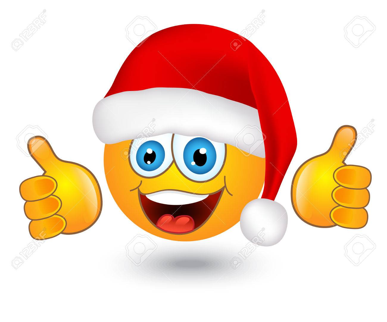 yellow shiny round emotion in Santa hat on white background - 24054326