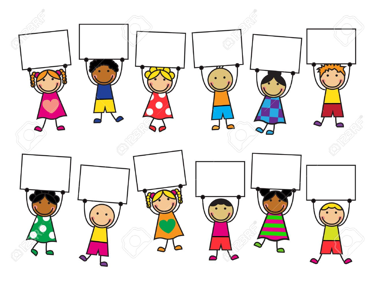 Cartoon kids in bright clothes with placards in their hands - 24055031