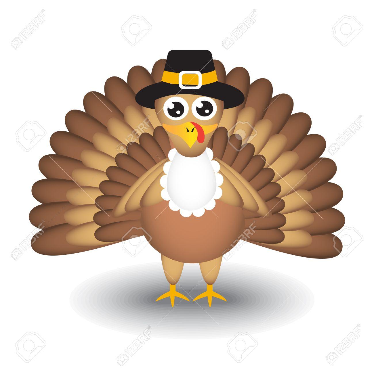 Cartoon Türkei Auf Weißem Hintergrund Für Thanksgiving Day