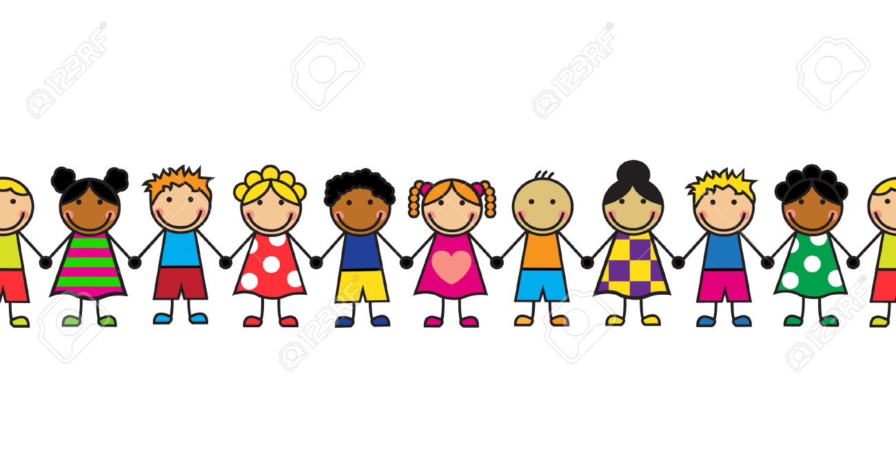 horizontal seamless cartoon children standing in a row royalty free