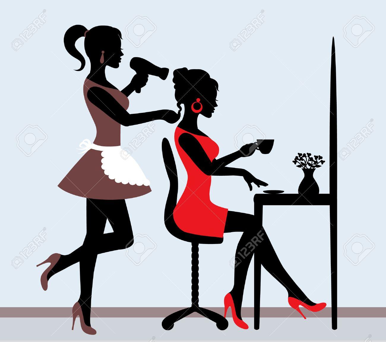 Silhouette Féminine En Salon De Coiffure Coiffeur Rend Coiffure ...