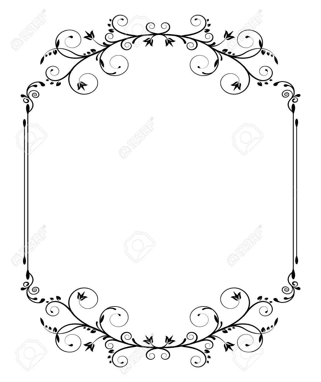 Black Vintage Frame With Thin Swirls On White Background Stock Vector