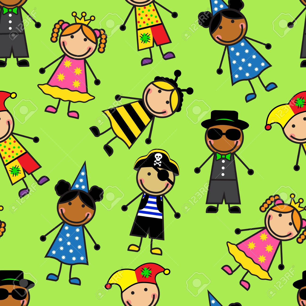 Cartoon seamless pattern with children in different carnival costumes Stock Vector - 27907468  sc 1 st  123RF.com & Cartoon Seamless Pattern With Children In Different Carnival ...