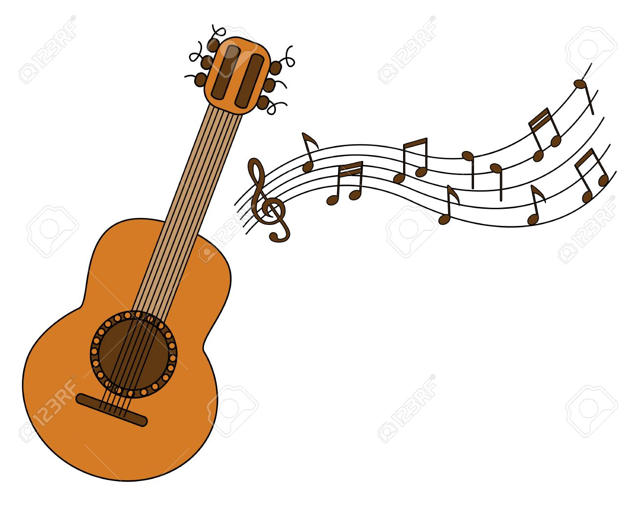 Cartoon Acoustic Guitar And Sheet Music On A White Background