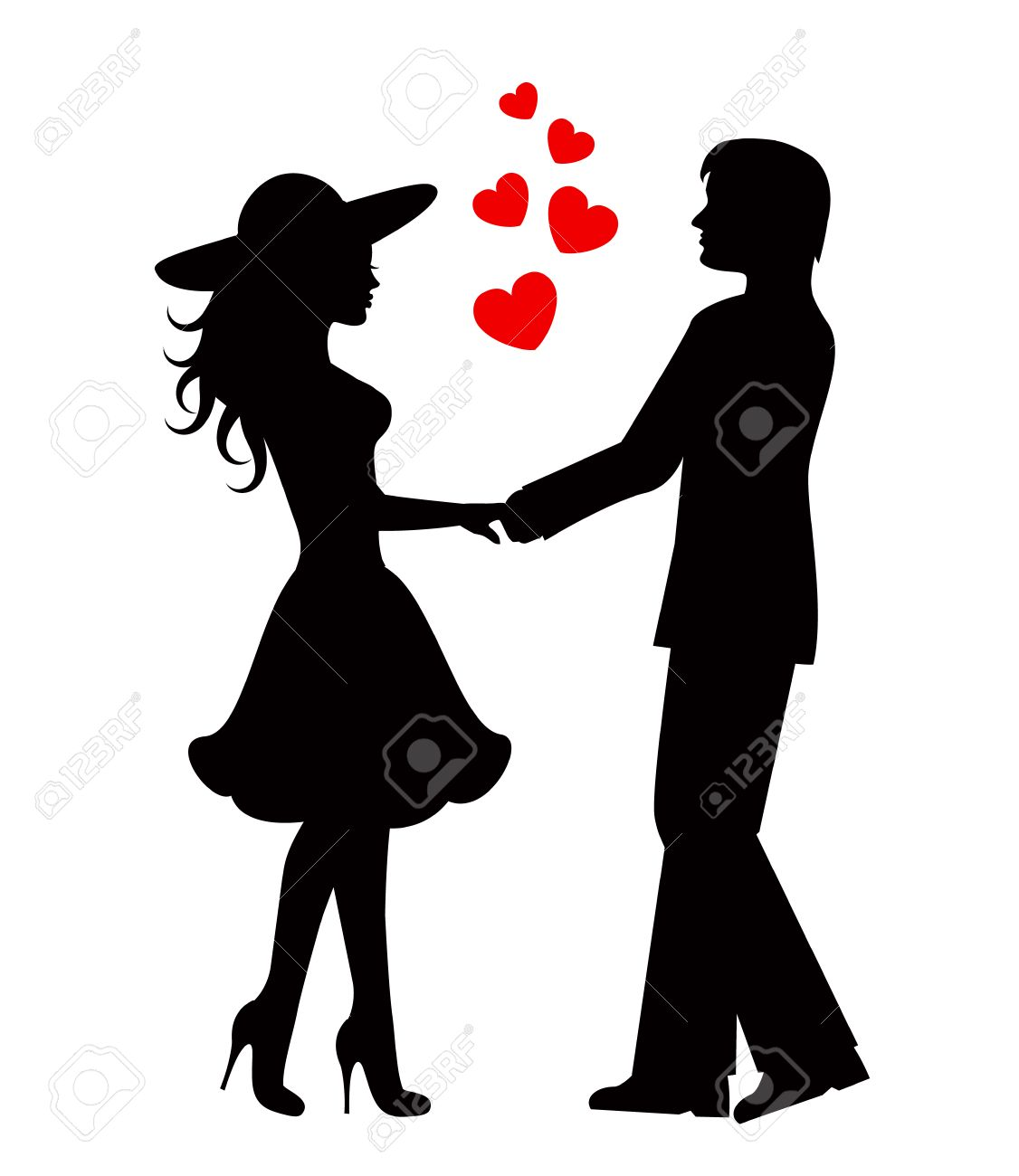 Silhouettes of loving couple black against white background stock vector 28069194