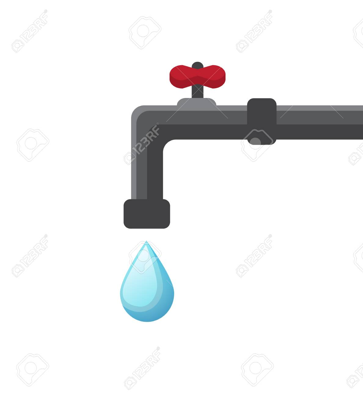 Metal Faucet With A Red Valve And A Drop Of Water Falls From ...