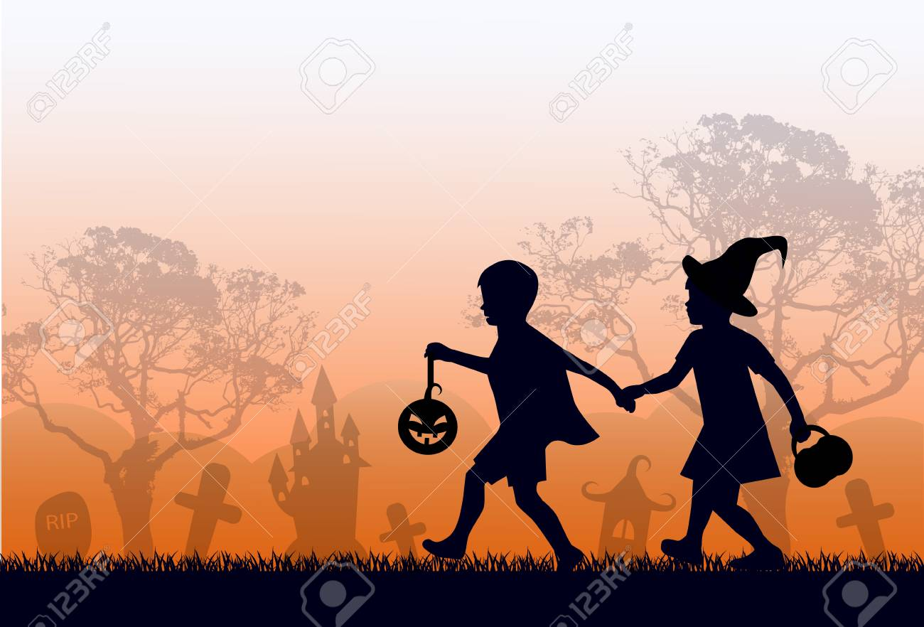 rainbow skyline, skyline and trees. Kids are rushing to Halloween - 125651663
