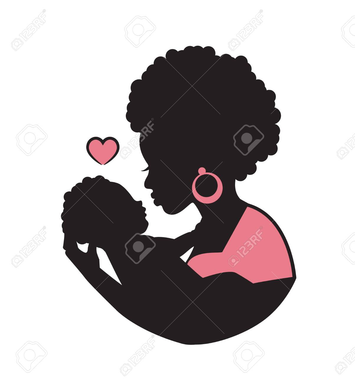 silhouette of african black curly mom with a baby in her arms and a heart - 132111149