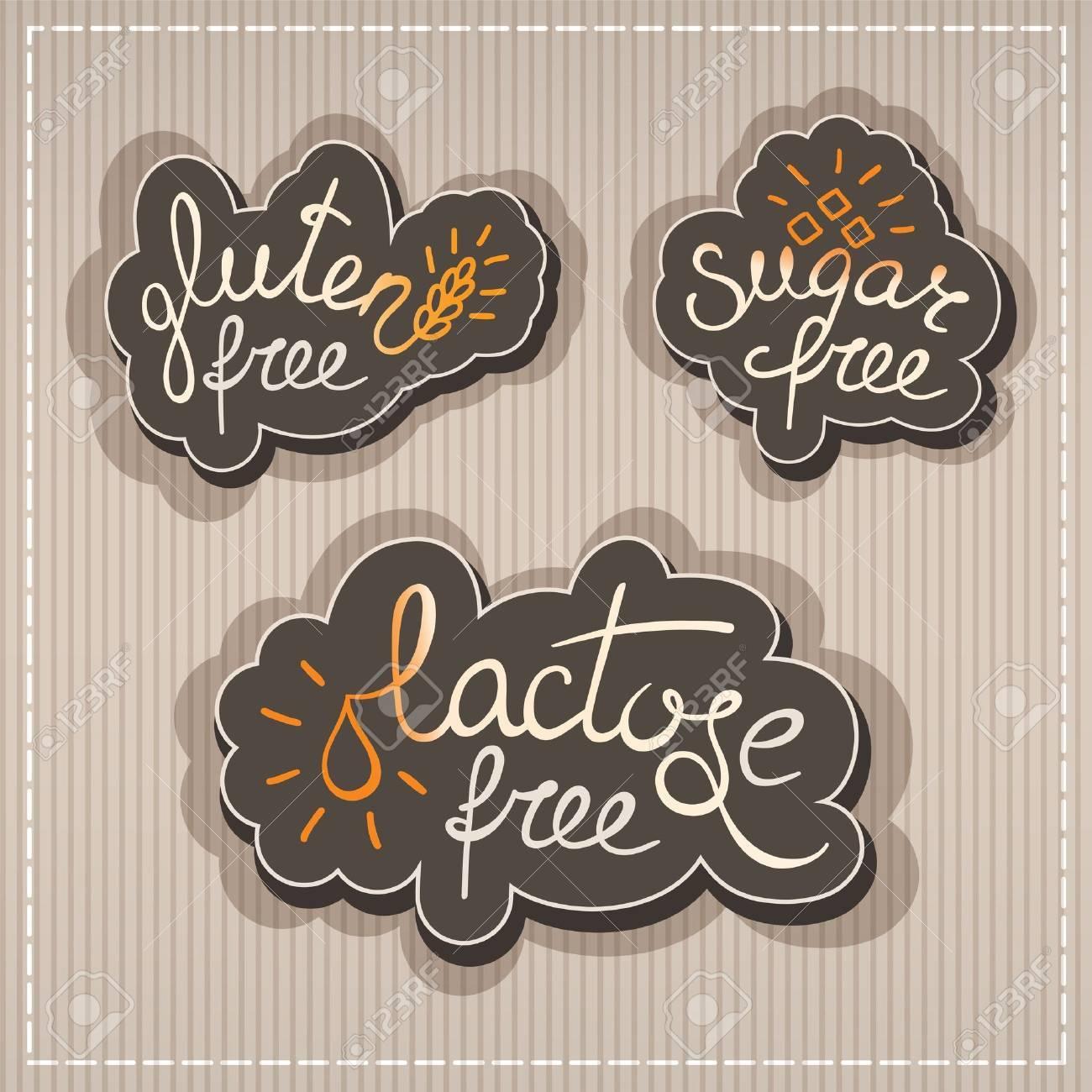 Handwritten Gluten, lactose, sugar free labels - 21932458