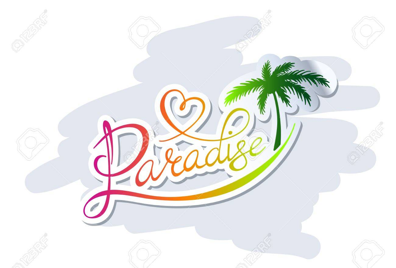 Handwritten calligraphic Paradise logo with palm silhouette - 21932501