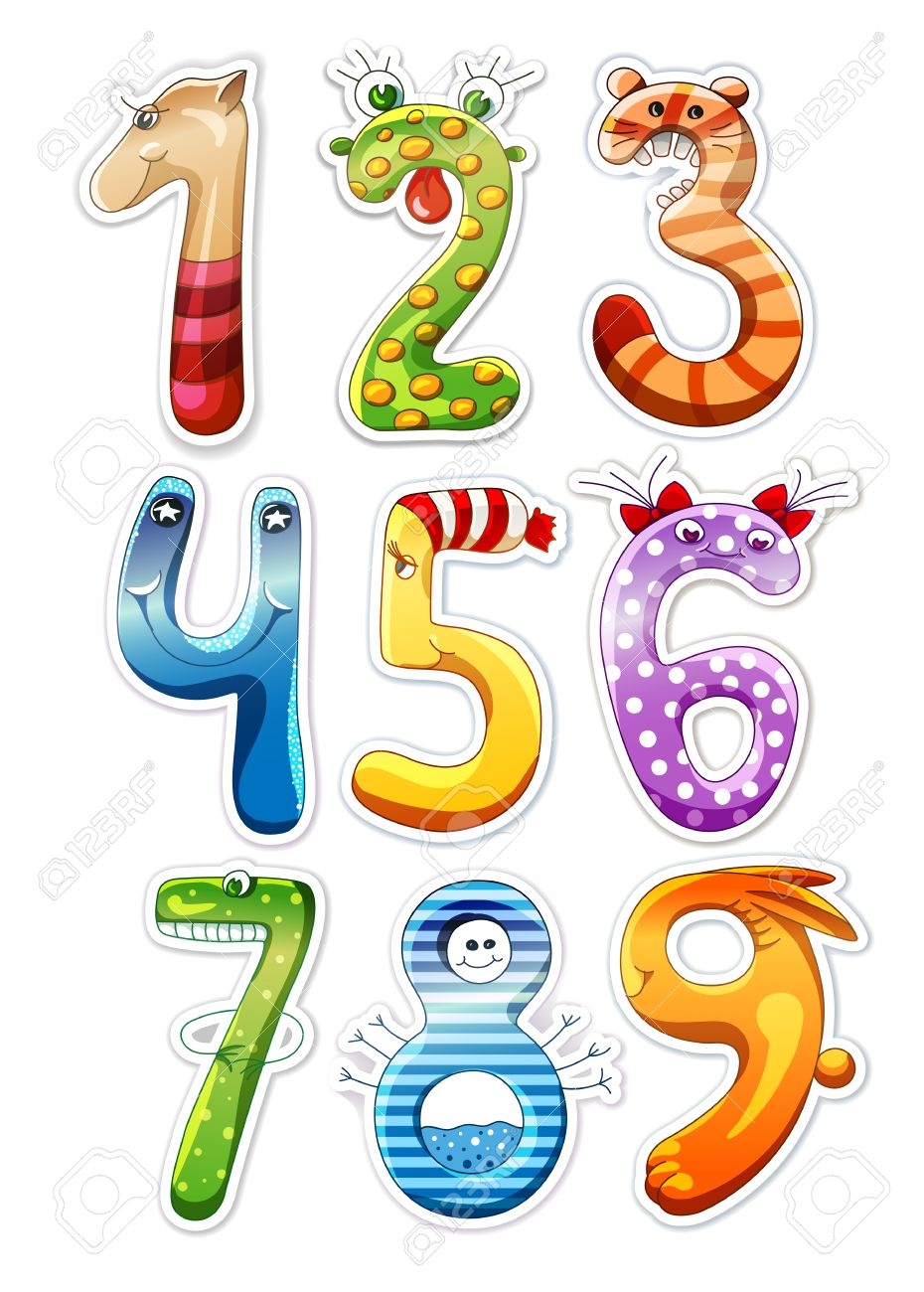 Colorful Cartoon Numbers For Kids Royalty Free Cliparts, Vectors ...