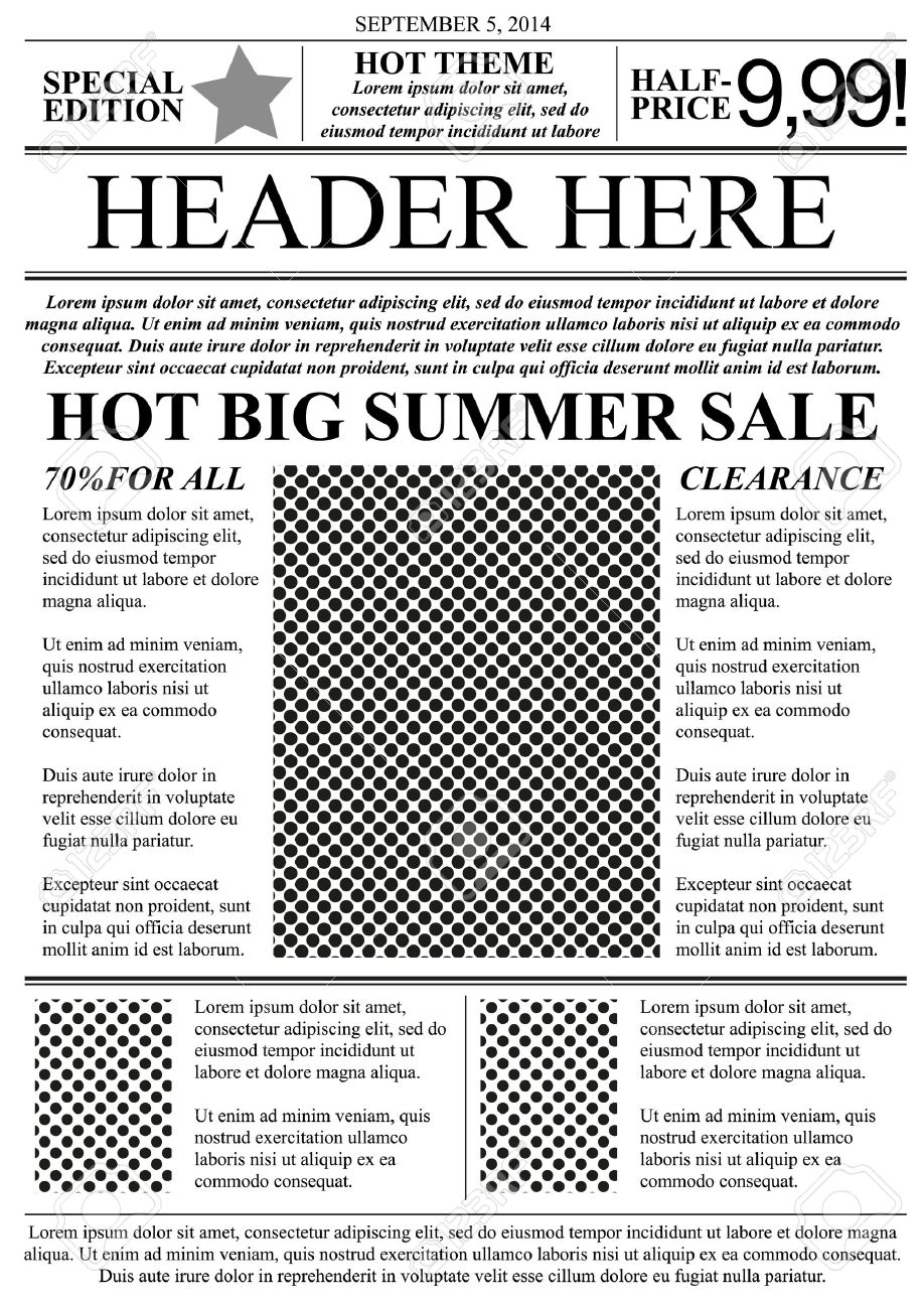 Flyer Template Newspaper Style Royalty Free Cliparts Vectors And – Newspaper Ad Template