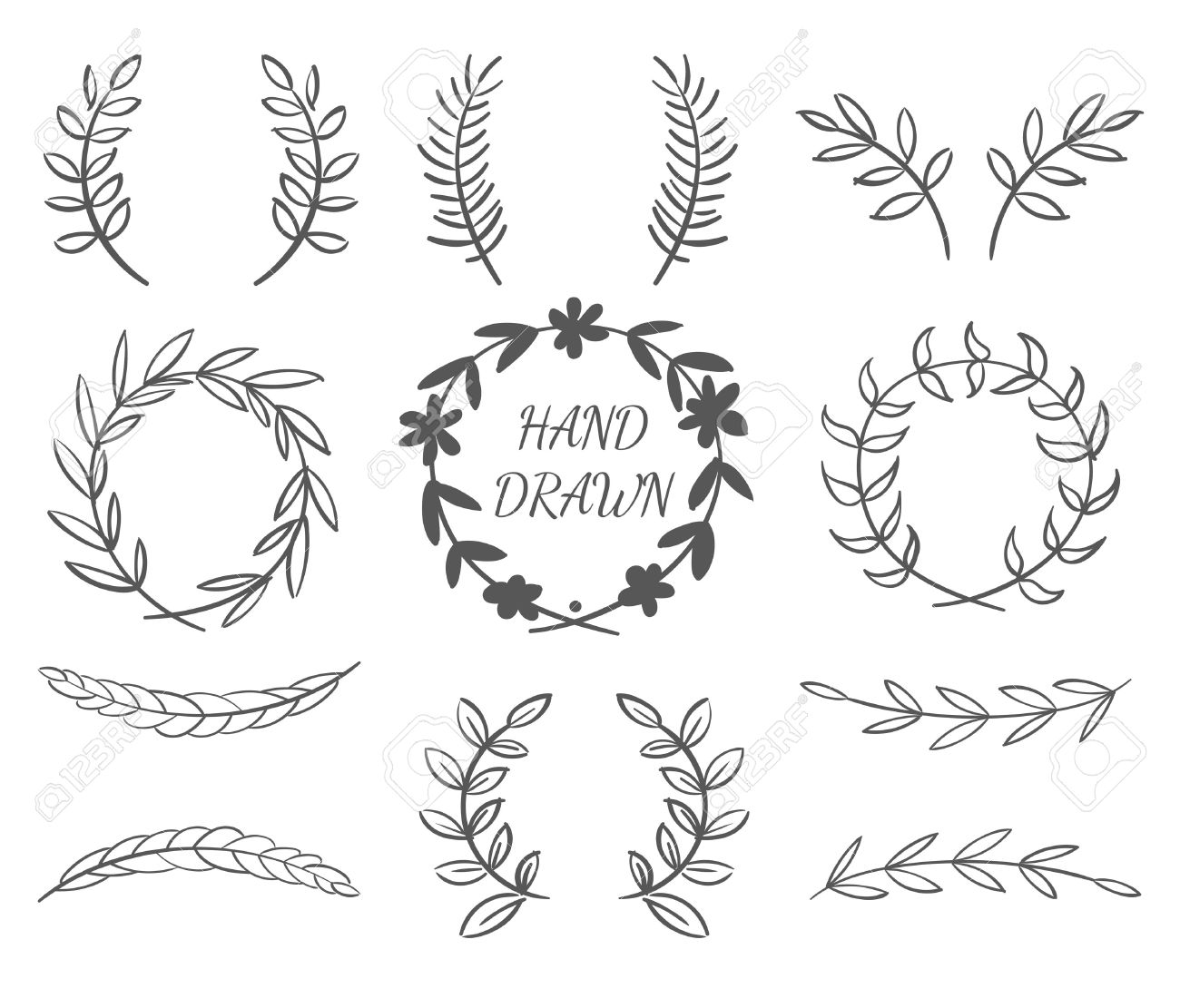 Hand Drawn Vector Set Of Wreaths For Invitations, Greeting Cards And Designs - 44250599