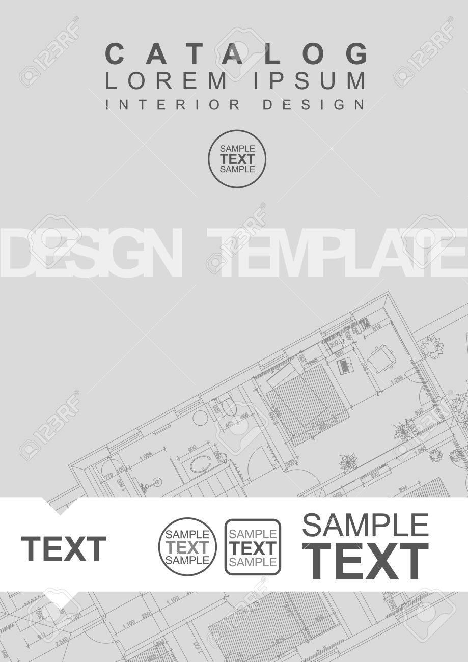 Architectural Flyer Or Cover Template With Technical Drawing ...