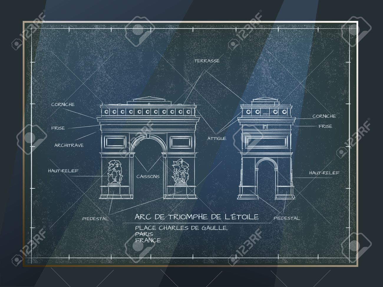 Old style architectural blueprint technical drawing of arc de old style architectural blueprint technical drawing of arc de triomphe paris stock vector 53103256 malvernweather Images
