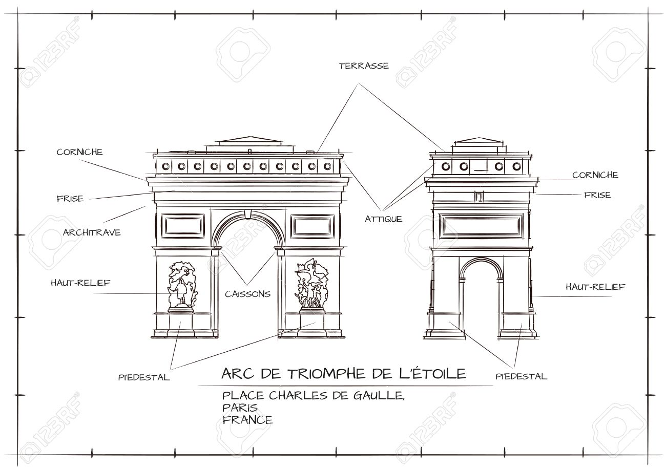 Old style architectural technical drawing of arc de triomphe old style architectural technical drawing of arc de triomphe paris stock vector 53103244 malvernweather Images