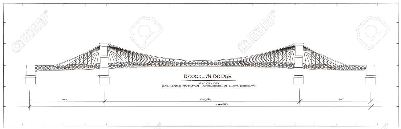 Architectural Technical Drawing. Brooklyn Bridge, New York - 53103258
