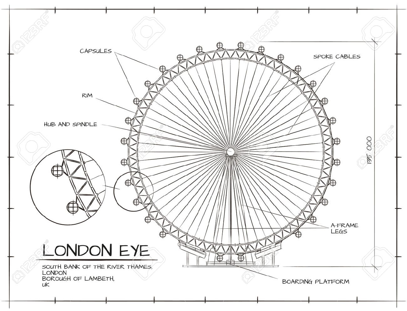Architectural Technical Drawing of London Eye Millennium Wheel - 53103253
