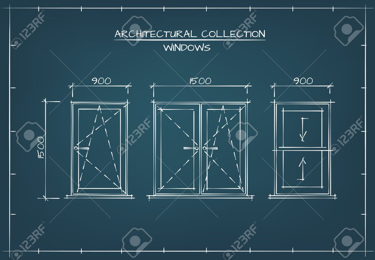 Architectural windows set technical drawing blueprint style technical drawing blueprint style stock vector 55399657 malvernweather Gallery