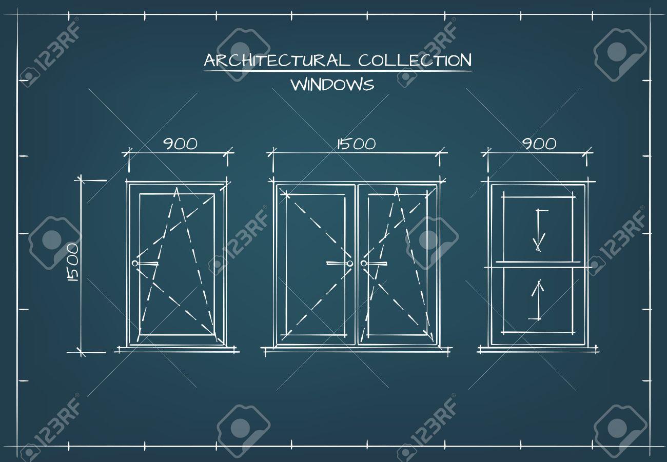 Conjunto de windows arquitectnico dibujo tcnico estilo blueprint conjunto de windows arquitectnico dibujo tcnico estilo blueprint foto de archivo 55399657 malvernweather Image collections