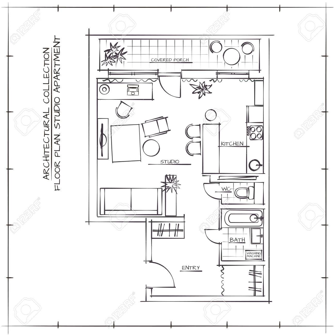 Architectural Sketch Floor Plan Studio Apartment Royalty Free Cliparts Vectors And Stock Illustration Image 55412702
